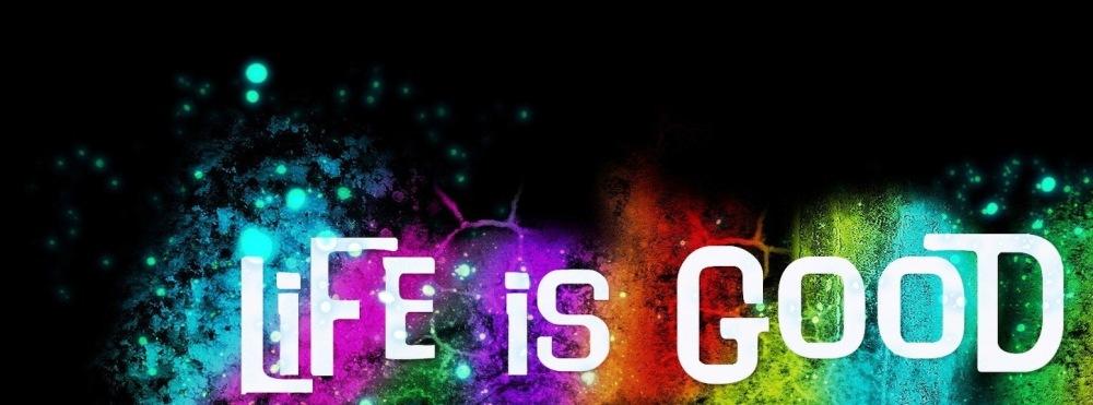 Life is good, надпись, цвета, черный фон, 1672x1045