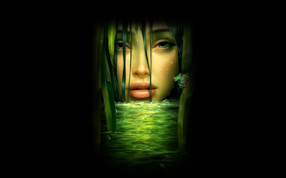 beautiful-green-girl-face-black-background